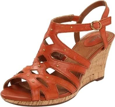 Clarks Women's Fiddle String Platform Sandal,Burnt Orange Leather,9.5 M US