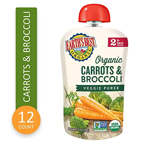 Earths Best Organic Stage 2 Baby Food, Carrots and Broccoli, 3.5 oz. Pouch (Pack of 12)