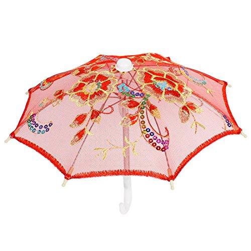 Accents Umbrella (uxcell Children Wedding Colorful Paillette Accent Mini Lace Umbrella Red)