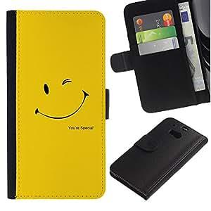 Be Good Phone Accessory // Caso del tirón Billetera de Cuero Titular de la tarjeta Carcasa Funda de Protección para HTC One M8 // Wink Smiley Yellow Happy Gold Sun