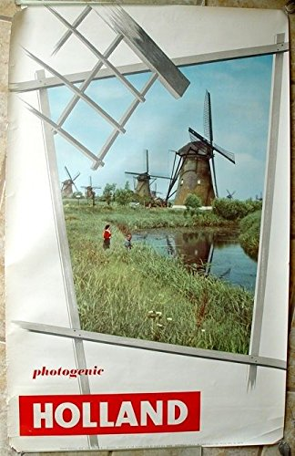 1950s HOLLAND NETHERLANDS NICE TRAVEL POSTER