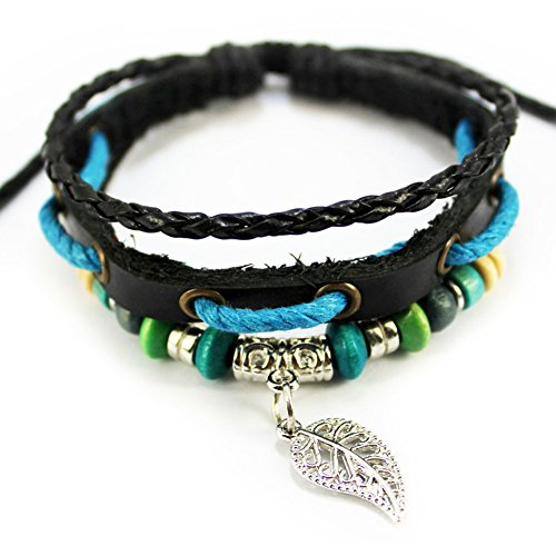 Bluegrass Charm Silvery Leaf Pendant Multistrand Leather Blue Braided Rope Handmade Adjustable Bracelet