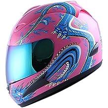WOW Motorcycle Full Face Helmet Street Bike Blue Dragon Pink