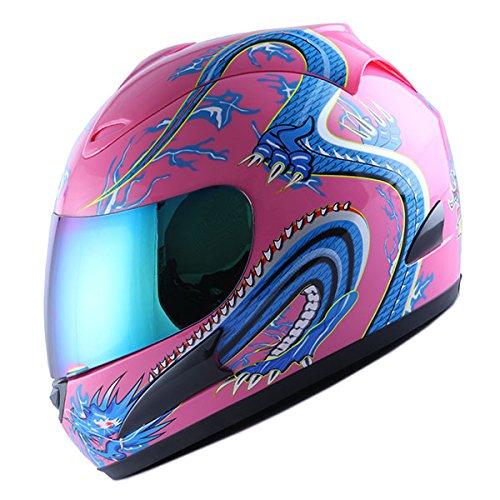 (WOW Motorcycle Full Face Helmet Street Bike Blue Dragon Pink)