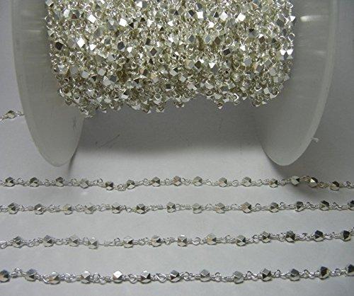 (Pyrite Beads 3MM - Pyrite Bead Chain - Rosary Chain - Semi Precious Gemstone Bead Chain - Silver Coated Pyrite Nugget 3 MM Silver Plated Bead Chain)
