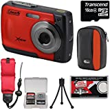 Coleman Xtreme C20WP Shock & Waterproof HD Digital Camera (Red) with 16GB Card + Case + Floating Strap + Tripod + Kit