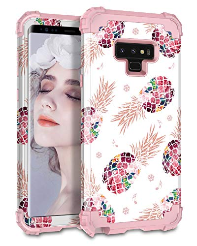 Lontect Compatible Galaxy Note 9 Case Pineapple 3 in 1 Heavy Duty Hybrid Sturdy Armor High Impact Shockproof Protective Cover Case for Samsung Galaxy Note 9 - Pineapple/Rose Gold