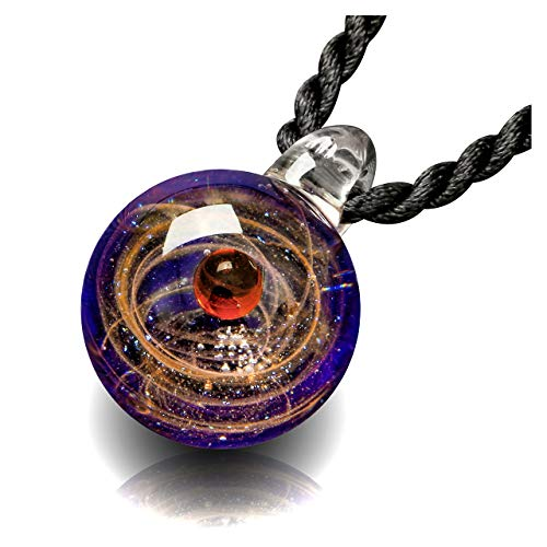 (Top Plaza Fashion Glass Necklace Jewelry Universe Galaxy Nebula Space Cosmos Glass Ball Pendant Unique Special Birthday Christams Gift for Womens Girls #5)