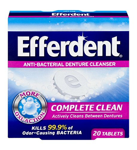 Efferdent Anti-Bacterial Denture Cleansers | 20 tablets | Pack of 12 | Actively Cleans Between Dentures | Packaging May Vary by Efferdent