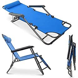 Apelila Set of 2 Folding Zero Gravity Lounge Beach Patio Chairs Outdoor Sunlounger Camping Hiking Recliner (Blue)