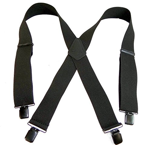 "Shadow Black Heavy Duty Holdup Work Suspender 2"" Wide with No-slip® Clips"