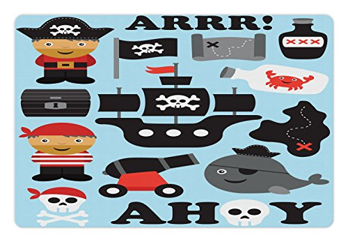 Lunarable Kids Pet Mat for Food and Water, Ahoy Pirate Theme Nautical Hat Flag Bottle Ship Toy Island Skull, Rectangle Non-Slip Rubber Mat for Dogs and Cats, Light Blue Black Grey White Red by Lunarable