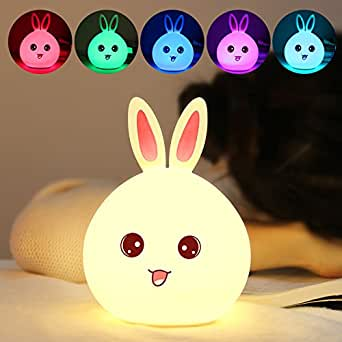 Rabbit Night Light Lamp with 7 Colors, FW ZONE Soft Silicone Cute Rabbit Bunny Lamp USB