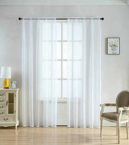 84' Sheer Curtain Panel (Merrylife High Class Sheer Curtsains 2 Panels Window Drapes With Rod Pocket |Flowy, Colorful| 54'' by 84''(WHITE))