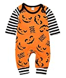 WOSENHK Infant Baby Girls Boys Halloween Outfit Pumpkin Face Romper Pajamas Striped Long Sleeve Jumpsuit (Orange, 70/0-6months)