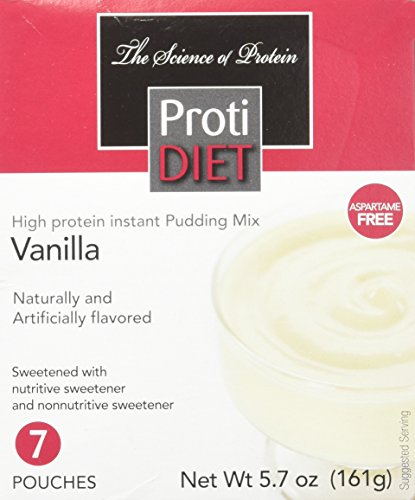 Protidiet High Protein Instant Pudding Mix (7-5.7 oz Pouches) (Vanilla) (Protein Diet Pudding)