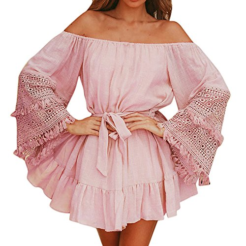 Handyulong Women Dresses Casual Off Shoulder Trumpet Sleeve Belted Evening Dinner Party Summer Loose Swing Mini Dresses (S, Pink) (Dress Strap Belted Button)