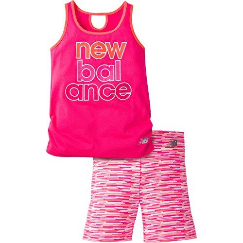 New Balance Girls' Performance Tank and Bike Short, Alpha Pink/Sunrise, 18 Months