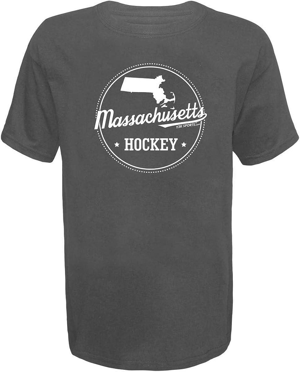 Y3K Sports Boys Youth Ice Hockey Massachusetts State T-Shirt