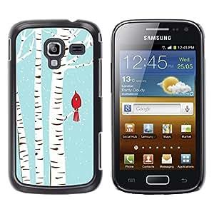 LECELL--Funda protectora / Cubierta / Piel For Samsung Galaxy Ace 2 I8160 Ace II X S7560M -- Bird Blue White Drawing Snow --