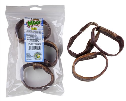 Moo Bully Sticks (3-5 Inch Moo Taffy Rings, Free Range Moo! Beef Taffy Dog Treats - 3 Pack)