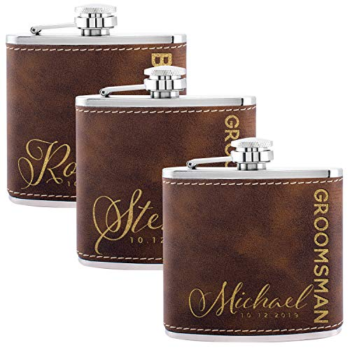 Personalized Flask For Wedding Groomsmen Gift, Customized Flask Set FREE Personalization - Laser Engraved - Design -6 (Leatherette, 3)