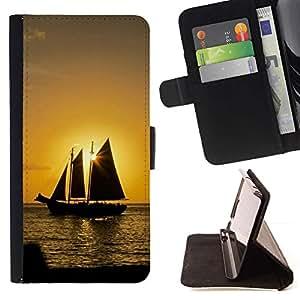 For Samsung Galaxy S6 Active G890A Case , Puesta del sol del barco Beautiful Nature 10- la tarjeta de Crédito Slots PU Funda de cuero Monedero caso cubierta de piel