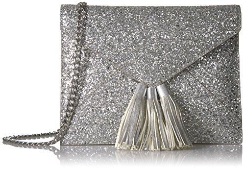 The Fix Izzi Glitter Envelope Clutch with Chain Crossbody Strap, Silver