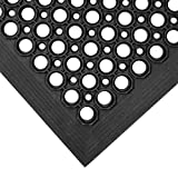 Teknor Apex 755-100 T30 Competitor 3' x 5' Black Anti-Fatigue Rubber Floor Mat with Bevel Edge - 1/2'' Thick