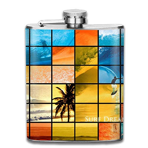 - CzxzZd CZZD Sea Surfing Sudoku Portable Stainless Steel Flagon Liquor Flask