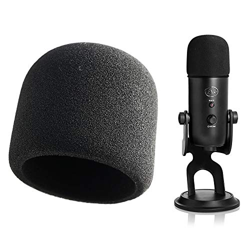 Foam Microphone Windscreen - YOUSHARES Mic Cover Pop Filter for Blue Yeti, Yeti Pro Condenser Microphones (Black)