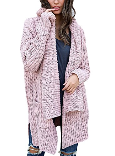 HOTAPEI Women's Winter Casual Open Front Oversized Cable Knit Long Cardigan Long Sleeve Sweater Coat with Pocket Pink (Cozy Cable)