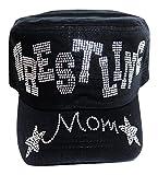 NEW!! Rhinestone ''Wrestling Mom'' Black Cadet Cap Hat Sports