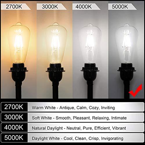LED Edison Bulb Dimmable, Daylight White 5000K, SHINE HAI 4W ST64 Vintage LED Filament Light Bulbs, 40W Equivalent, E26 Medium Base, Pack of 12 by SHINE HAI (Image #8)