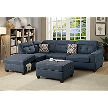 Living Room 3pcs Sectional W Ottoman Bobkona Reversible Chaise W Storage  Sofa W Pillows Tufted Dark