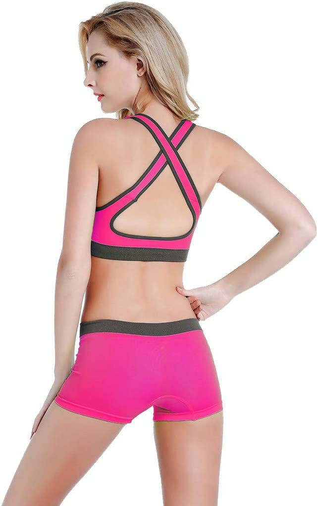 YunZyun 2pcs Women Ladies Yoga Suits Stretch Quick Dry Sports Bras Tops Tight Shorts Pants Extra Soft Leggings for Non See-Through Waist Set Suit Running Workout Fitness Hot Pink, L