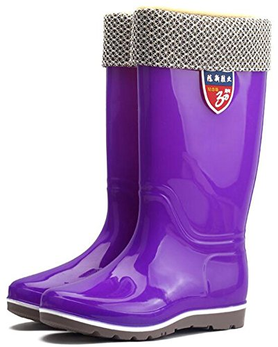 Idifu Mujeres Comfy Round Toe Low Wedge Tacones Botas De Lluvia Pull On Mid Calf Wellingtons Purple 1