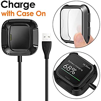 KIMILAR Screen Protector Case Charger Compatible Fitbit Versa Smartwatch, TPU Plated Full Coverage Bumper Replacement case Unique Charger Dock Charging ...