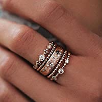 Meenanoom Boho Retro Lots 5pcs Crystal Rose Gold Stackable Ring Sparkly Rings Jewelry (7)
