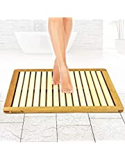 Bamboo Wood Bathroom Bath Mat - Heavy Duty Natural or Shower Floor Foot Platform Rug with Elevated Design for Water Evaporation and Non Slip Rubber Feet for Indoor Outdoor Use - SereneLife SLFBMT10