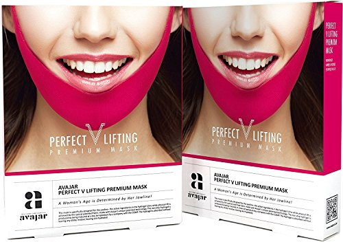 Avajar Perfect V Lifting Premium Anti-Celluite Mask for Facial firming treatment, Tight face & Neck line, - 10 Count -