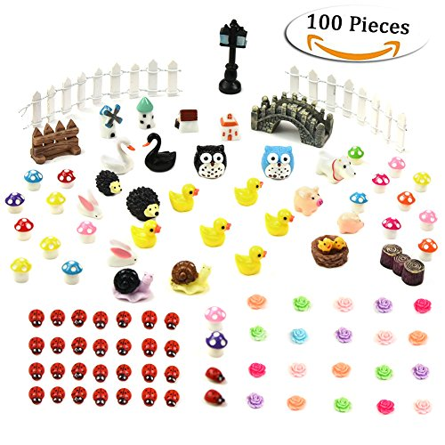 Dr.Beauty 100 pcs Miniatures Fairy Garden Accessories Miniature Ornament Kit with Tweezer...