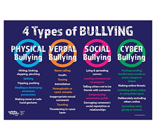 Anti Bullying Poster - The 4 Types: Physical, Verbal, Social and Cyber - 12 x 18 inches - Laminated ()