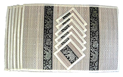 Thai Silk Reed Placemat & Coaster 6 Places (Ivory) (14 French Red Rubber)