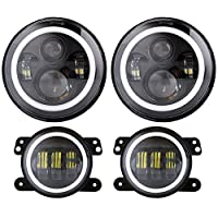 "DOT 7"" LED Halo Headlights with Turn Signal Amber White DRL + 4 '' Halo Fog Lights for Jeep Wrangler JK LJ CJ Sahara Sport Rubicon Hummer H1 H2 Headlamp"