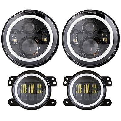 "DOT 7"" LED Halo Headlights with Turn Signal Amber White DRL + 4 '' Halo Fog Lights for Jeep Wrangler JK LJ CJ Sahara Sport Rubicon Hummer H1 H2 Headlamp"