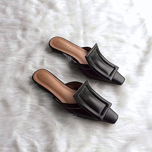 l'estate fibbia e piatto sandali con nera fondo La Qingchunhuangtang per Luce di pantofole la primavera Baotou scarpe wgTqfcO8St