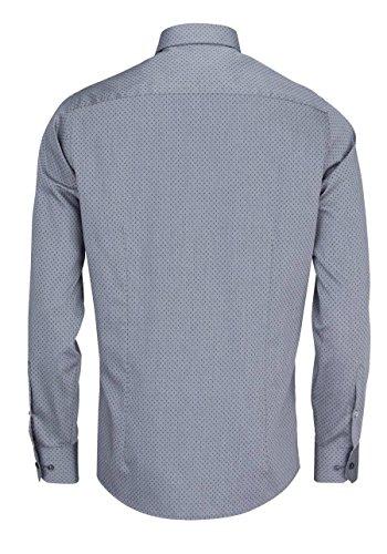 HATICO Modern Fit Hemd Langarm mit Brusttasche Muster schwarz