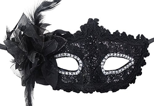 Coxeer Masquerade Mask for Women Mardi Gras Mask with Flower (Paillette Black) ()