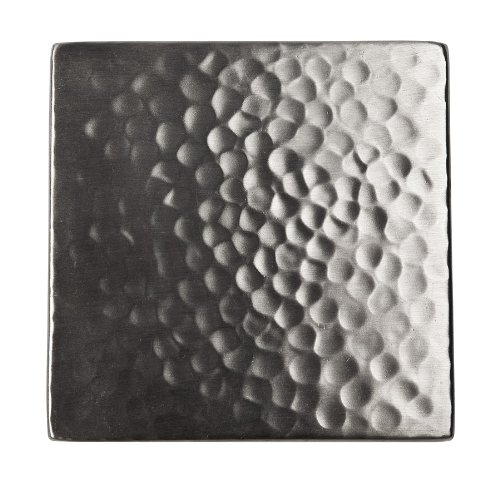 The Copper Factory CF144SN Solid Hammered Copper 4-Inch by 4-Inch Decorative Accent Tile, Satin Nickel by The Copper Factory